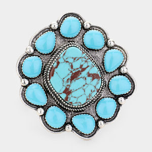 Turquoise Accented Tribal Cuff Bracelet